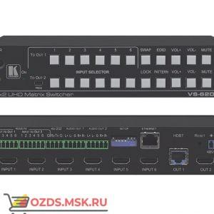 Матричный коммутатор 6х2 HDMI Kramer VS-62DT, выходы HDBaseT, 4К 60 Гц (4:2:0), PoE