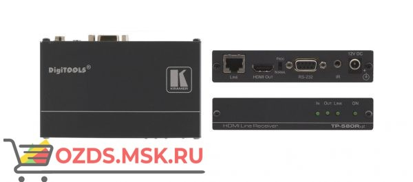 TP-580RXR, до 180 м: Приёмник сигнала HDMI, RS-232 и ИК из кабеля витой пары (TP)