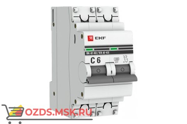ЭКФ PROxima mcb4763-2-06C-pro Выкл.автомат. ВА 47-63 2P   6А (C) 4,5кА