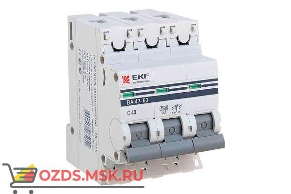 ЭКФ PROxima mcb4763-3-40C-pro Выкл.автомат. ВА 47-63 3P  40А (C) 4,5кА