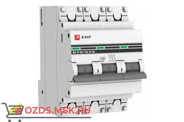 ЭКФ PROxima mcb4763-3-20C-pro Выкл.автомат. ВА 47-63 3P 20А (C) 4,5кА