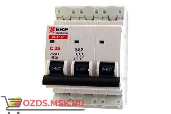 ЭКФ PROxima mcb4763-3-25C-pro Выкл.автомат. ВА 47-63 3P 25А (C) 4,5кА