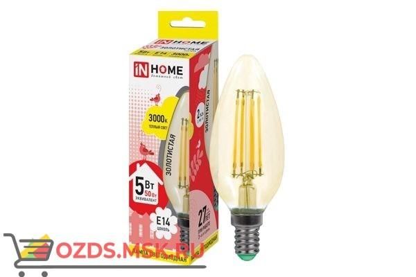 IN HOME LED-СВЕЧА-deco 7Вт Е14 3000К 630Лм золотистая: Лампа