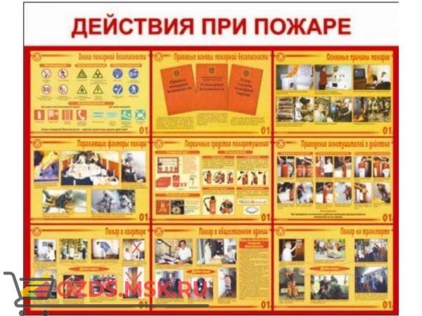 Действия при пожаре: Плакат по безопасности