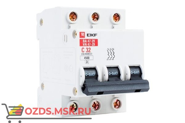ЭКФ PROxima mcb4763-3-32C-pro Выкл.автомат. ВА 47-63 3P 32А (C) 4,5кА