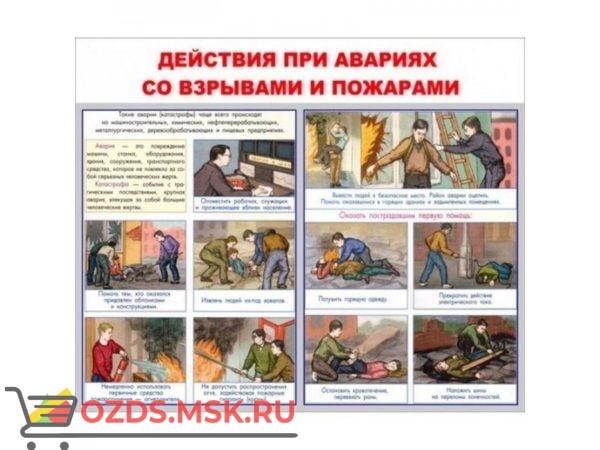 Действия при авариях со взрывами и пожарами: Плакат по безопасности