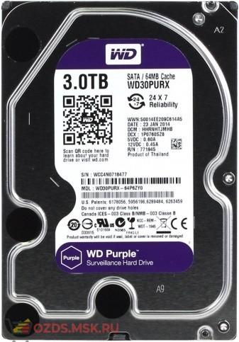 Western Digital WD30PURX Purple для видеорегистраторов 3Tb 64Mb SATA-III: Жесткий диск