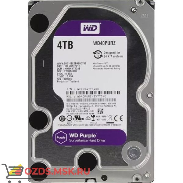 Western Digital WD40PURZ Video Purple для видеорегистраторов 4Tb 64 Mb SATA-III: Жесткий диск