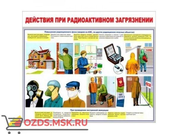 Действия при радиоактивном загрязнении: Плакат по безопасности