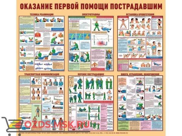 Приёмы оказания первой помощи пострадавшим: Комплект из 8 плакатов