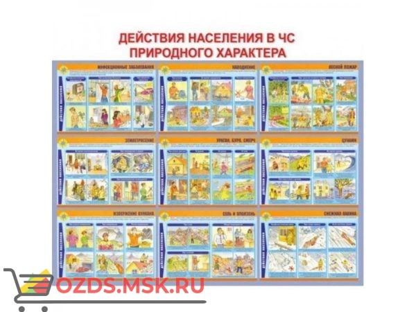 Действия населения в чрезвычайных ситуациях природного характера: Плакат по безопасности