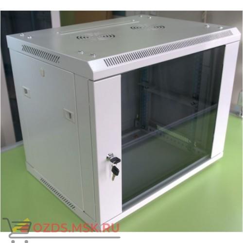 Шкаф телекоммуникационный настенный 6U (600x600х368) дверь стекло, цвет-серый