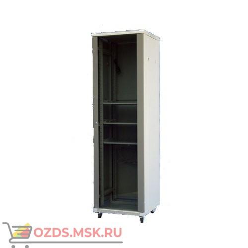 Шкаф телекоммуникационный напольный 42U (600х600х2056) дверь стекло, цвет-серый