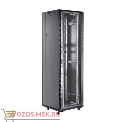 Шкаф телекоммуникационный напольный 42U (600х800х2055) дверь стекло, задняя-перфорир., цвет-черный