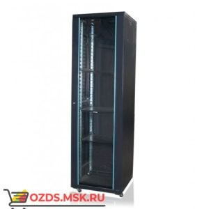 Шкаф телекоммуникационный напольный 22U (600х600х1166) дверь стекло, цвет-черный