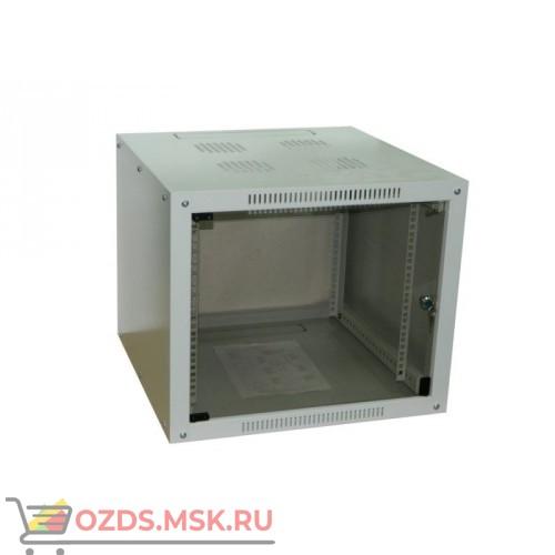 Шкаф телекоммуникационный настенный 9U (600x600х500) дверь стекло, цвет-серый, разборный