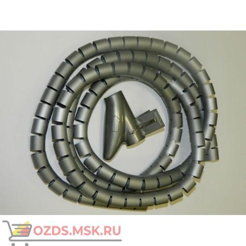 Пластиковый спиральный рукав для кабеля д.25 мм (2 м) и инструмент, серый