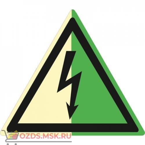 Знак W08 Опасность поражения электрическим током (Фотолюминесцентный Пластик 200 х 200) Т1