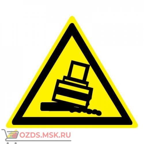 Знак W24 Осторожно. Возможно опрокидывание ГОСТ 12.4.026-2015 (Пластик 200 х 200)