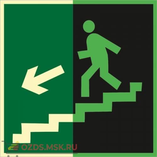 Знак E14 Направление к эвакуационному выходу по лестнице вниз (левосторонний) (Фотолюминесцентный Пластик 200 x 200) Т1