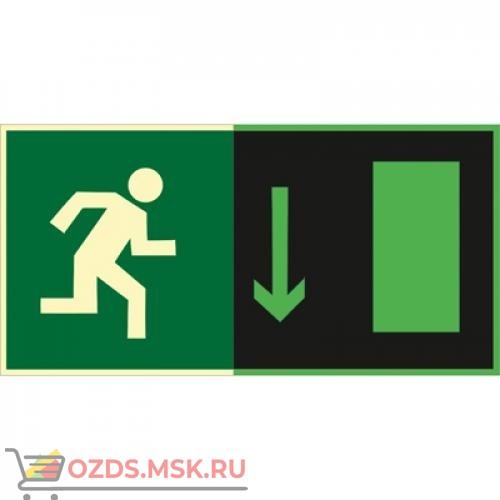 Знак E09 Указатель двери эвакуационного выхода (правосторонний ) (Фотолюминесцентный Пластик 150 x 300) Т2