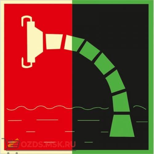 Знак F07 Пожарный водоисточник (Фотолюминесцентный Пластик 200 x 200) Т2