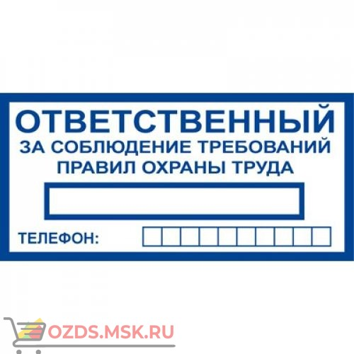 Знак T777 Ответственный за соблюдение требований правил охраны труда (Пленка 100 x 200)