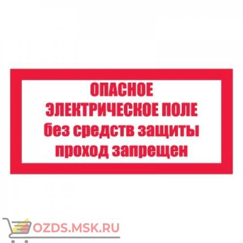 Плакат предупреждающий №10-T23 Опасное электрическое поле. Без средств защиты проход запрещен СО 153-34.03.603-2003 (Пленка 100 х 200)