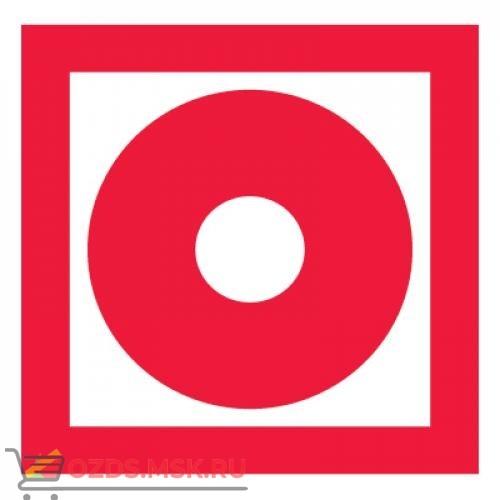 Знак F10 Кнопка включения установок (систем) пожарной автоматики ГОСТ 12.4.026-2015 (Пленка 100 х 100)
