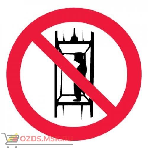Знак P13 Запрещается подъем (спуск) людей по шахтному стволу... ГОСТ 12.4.026-2015 (Пленка 200 х 200)