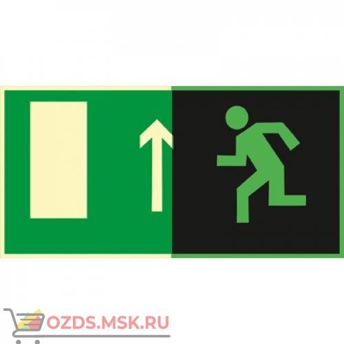 Знак E12 Направление к эвакуационному выходу прямо (Фотолюминесцентный Пластик 150 x 300) Т2