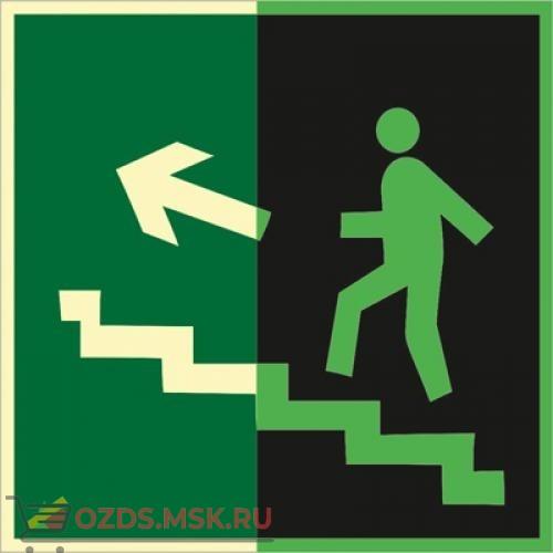 Знак E16 Направление к эвакуационному выходу по лестнице вверх (левосторонний) (Фотолюминесцентный Пластик 200 x 200) Т2