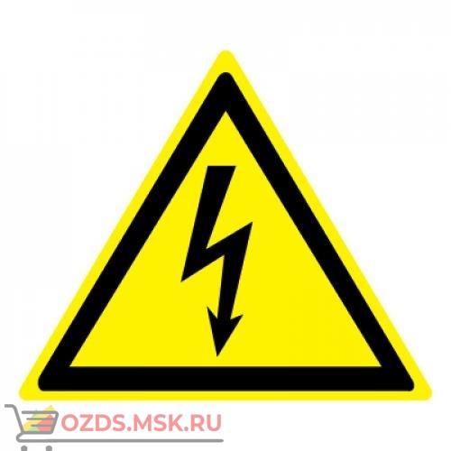 Знак W08 Опасность поражения электрическим током ГОСТ 12.4.026-2015 (Пластик 100 х 100)