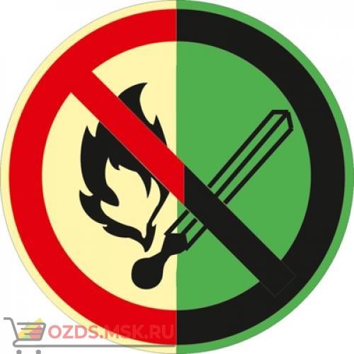 Знак P02 Запрещается пользоваться открытым огнем и курить (Фотолюминесцентный Пластик 200 x 200) Т2