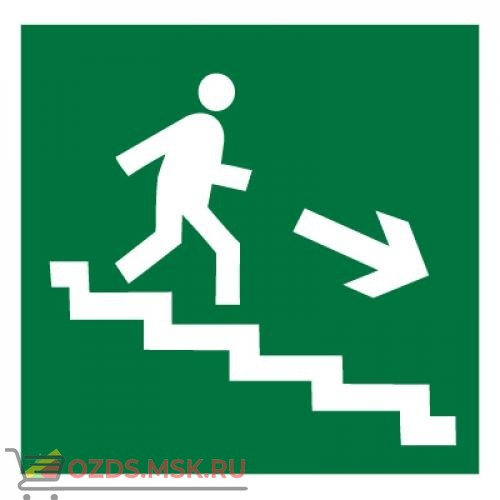 Знак E13 Направление к эвакуационному выходу по лестнице вниз (правосторонний) ГОСТ 12.4.026-2015 (Пластик 200 х 200)