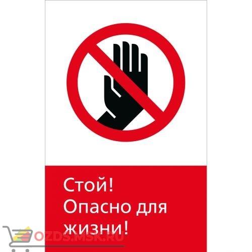 Знак 5.1.6.03 Стой! Опасно для жизни! (Пластик 450 x 700)