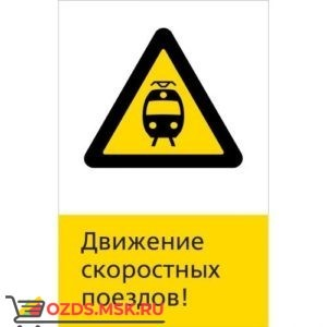 Знак 5.1.6.15 Движение скоростных поездов! (Пластик 450 x 700)