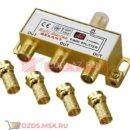 REXANT Делитель ТВ краб x 3 + 4шт. F Box 5-1000 МГц Gold (05-6102-1) Разветвитель видеосигнала